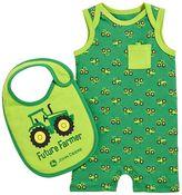 John Deere Baby Boy Tractor Romper & Bib Set