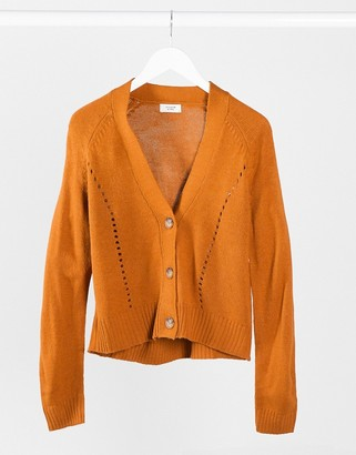 JDY knitted cardigan with stitch detail in tan