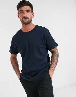 Jack and Jones ribbed collar relaxed fit t-shirt in navy