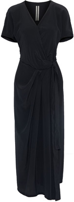 Rick Owens Limo Silk Crepe De Chine Midi Wrap Dress
