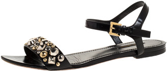 Louis Vuitton Black Leather Studded Flat Ankle Strap Sandals Size 40