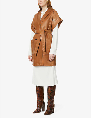 Max Mara Navata belted leather jacket