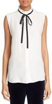 Frame Women's Sleeveless Ruffle Tie Neck Silk Blouse