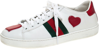 Gucci White Leather Ace Web Heart Detail Lace Up Sneaker Size 35
