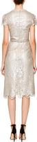 Marchesa Knee-Length Metallic Floral Lace Cocktail Dress