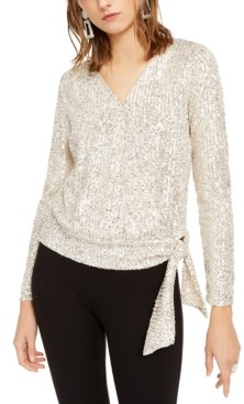 INC International Concepts Inc Sequin Surplice Top, Created for Macy's