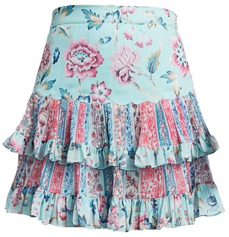 HEMANT AND NANDITA Floral Ruffle Mini Skirt