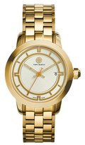 Tory Burch 37mm Tory Stainless Steel Bracelet Watch, Ivory/Golden