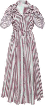 By Any Other Name Gathered Pinstriped Cotton-Poplin Midi Dress