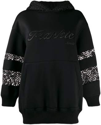 Frankie Morello embroidered lace insert hoodie