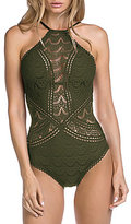 Becca by Rebecca Virtue Color Play Crochet High Neck One-Piece