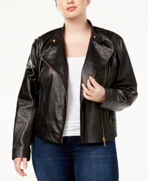 Michael Kors Michael Plus Size Leather Moto Jacket