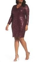 Marina Plus Size Women's Sequin Lace Stretch Sheath Dress