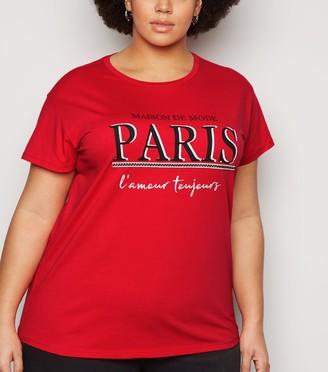 New Look Curves Diamante Tape Paris Slogan T-Shirt