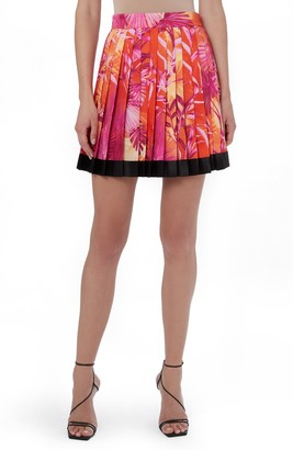 Versace Jungle Print Pleated Miniskirt