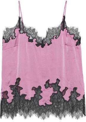 Robert Rodriguez Lace-trimmed Hammered Silk-charmeuse Camisole