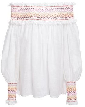 Zimmermann Goldie Rainbow Off-the-shoulder Embroidered Shirred Linen Top