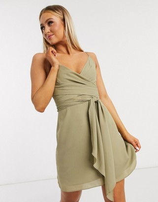 ASOS DESIGN cami wrap mini dress with tie waist in soft khaki