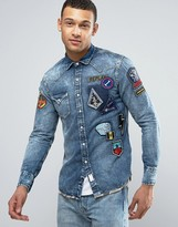Replay Regular Fit Space Badges Camo Trim Denim Shirt