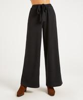 Suzanne Betro Weekend Women's Casual Pants 101BLACK - Black Tie-Front Wide-Leg Pants - Women & Plus