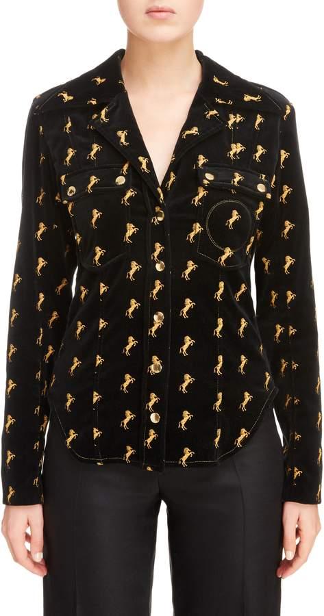 Chloé Horse Embroidered Velvet Jacket