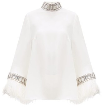Andrew Gn Crystal & Ostrich Feather-trimmed Crepe Blouse - Ivory