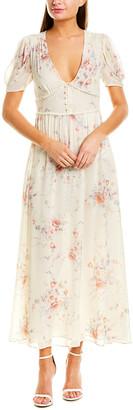LoveShackFancy V-Neck Silk Midi Dress