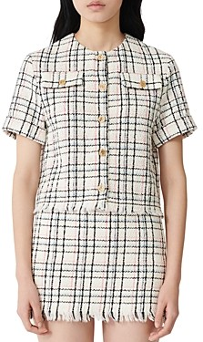 Maje Short-Sleeve Button-Up Tweed Top