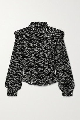 Isabel Marant Anais Pleated Printed Crepe De Chine Blouse - Black