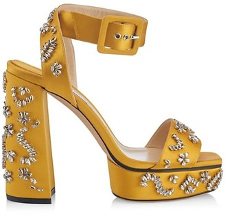 Jimmy Choo Jax Crystal-Embellished Satin Platform Sandals