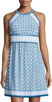 Max Studio Sleeveless Multi-Print Dress, Ocean