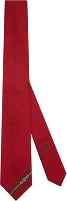 Gucci Double G and Horsebit jacquard silk tie