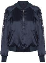 I.D. Sarrieri Macaroon Delights Chantilly Lace-trimmed Silk-blend Satin Jacket - Midnight blue