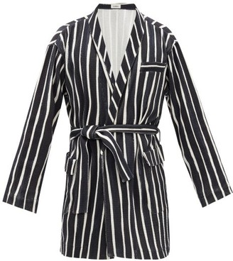 COMMAS Belted Striped Cotton Robe - Mens - Black White