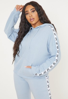 Missguided Plus Size Active Blue Co Ord Msgd Lounge Hoodie