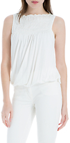 Max Studio Sleeveless Ruched Jersey Top, Ivory