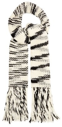 Joseph Fringed Ribbed Wool Blend Scarf - Womens - Black