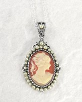 Sosi B. Sterling Silver Cameo and Pearlized Beads Frame Pendant Necklace, 16-18""