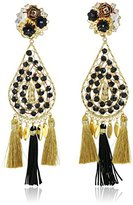 Mercedes Salazar Gold-Tone and Black Tassel Floral Clip-On Earrings