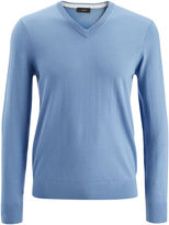 Merinos And Suede Patch V Neck Sweater