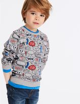 Marks and Spencer Cotton Rich All Over Print Sweatshirt (3 Months - 7 Years)