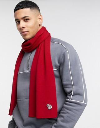 Paul Smith zebra logo scarf in red