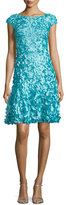 Theia Cap-Sleeve Petal-Embellished Dress, Pacific Blue
