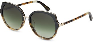 Lottie Black Tortoise | Green Lens