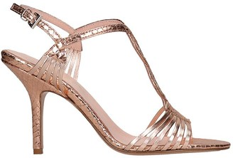 ANNA F. Sandals In Rose-pink Leather