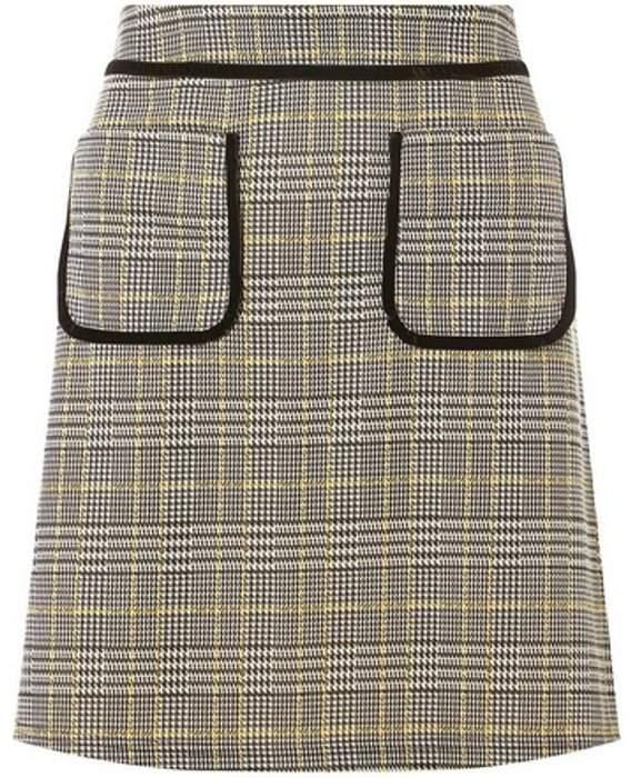 Dorothy Perkins Womens Yellow Checked Mini Skirt