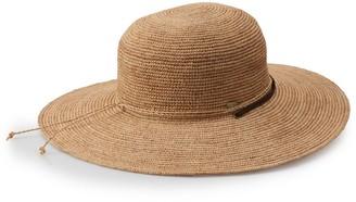 Scala Women's Raffia Big Brim Hat With Chin Cord