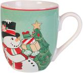Fitz & Floyd Set of 2 Top Hat Frosty Holiday Mugs
