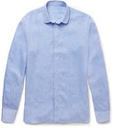 Caruso - Penny-collar Slubbed Linen Shirt