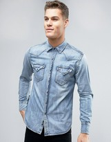 Replay Regular Fit Light Wash Denim Shirt